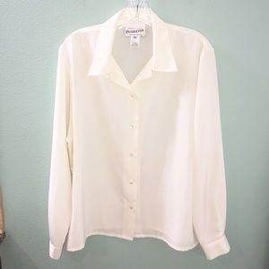 Pendleton Off White Cream Button Down Shirt Blouse